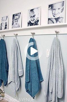 La salle de bains s'adapte aux familles avec enfants sur Pinterest. Un canard dans la baignoire, un marchepied pour les petits... La salle de bains se veut déco tant pour les adultes que pour les enfants. La preuve en 6 photos. Shared Bathroom, Family Bathroom, Bathroom Kids, Bathroom Cleaning, Bathroom Towels, Bathroom Storage, Small Bathroom, Washroom, Neutral Bathroom