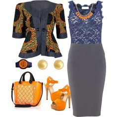 Ankara Jacket and Pencil Skirt by curvygirl-851 on Polyvore featuring mode, Rosemunde, Luichiny, River Island, J by Jasper Conran and Puma