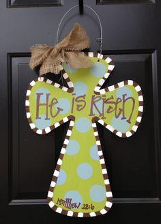 Easter Wooden Cross Door Hanger. $40.00, via Etsy.