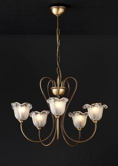 ΜΑΥΡΟΣ -- 5-bulb chandelier with Murano crystals | NAXOS-1