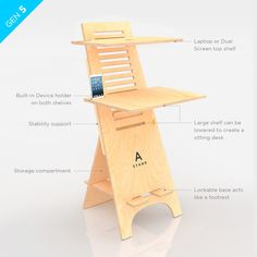 Adjustable and portable standing or sitting computer desk.