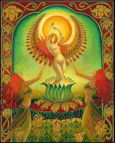 Mother Isis Summer Solstice Goddess ACEO Fine Art by EmilyBalivet, $3.00  Representing the solar aspect of Isis - She is The Brilliant One and Mother of All.