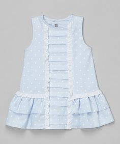 Look what I found on #zulily! Blue Polka Dot Pleated Dress - Infant, Toddler & Girls #zulilyfinds