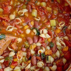 Minestrone Soup: Minestrone soup cooks in one pot with a vegetable broth tomato base and then loaded with fresh vegetables, beans, and tender small shell pasta. Healthy Soup Recipes, Healthy Snacks, Cooking Recipes, Meatless Recipes, Healthy Dinners, Healthy Cooking, Fagioli Soup, Stuffed Pasta Shells, Soups And Stews