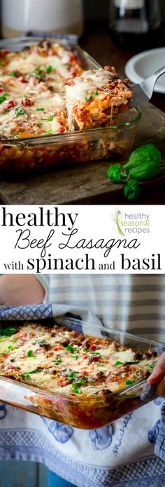 Healthy Beef Lasagna with Spinach and Basil. Gluten-free option and only 259 calories per slice!