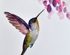 ORIGINAL Watercolor Bird Painting, Olive Green Purple Hummingbird With Purple…