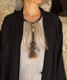 Necklace: one of a kind, gorgeous old spindle whorl clay beads