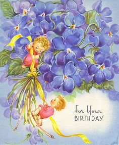 For Your Birthday - vintage card by Tommer G, via Flickr