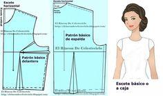 Patrón básico delantero de blusa con pinza de costado o lateral (Método actualizado) Dress Patterns, Sewing Patterns, Beading Tutorials, Floral Blouse, Sewing Hacks, Sewing Tips, Designer Dresses, Collars, Frocks