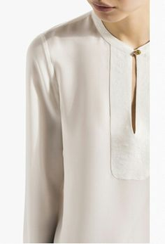 Massimo Dutti silk oriental collar blouse