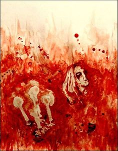 """Per Yngve Ohlin """"Dead"""" from Mayhem, on the """"Live In Leipzig"""" cover album. From Black Metal Tributes Collection - Maxime Taccardi (Painted with his own blood)."""