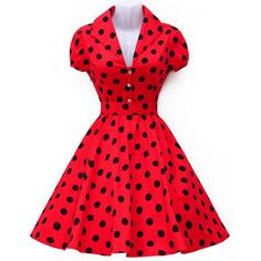 Vintage Turn-Down Collar Big Hem Polka Dot Print Women's Dress (RED,L) in Vintage Dresses | DressLily.com