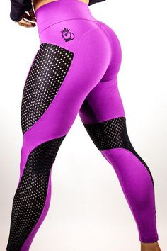 The Newest Addition to the Bootyqueen Legging Family. This legging is offered in two options: Black with Black Cut outs and Purple with Black Cut outs. With this Purple and Black option the legging is