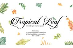 Tropical Watercolor leaf for Wedding by GrouchlambInc on @creativemarket