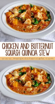 Chicken and butternut quash quinoa stew. Healthy, filling, and delicious.