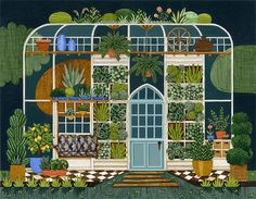 Greenhouse Print by @adrienne Langer on Etsy, $20.00 #illustration #print #greenhouse #flowers #plant #nature