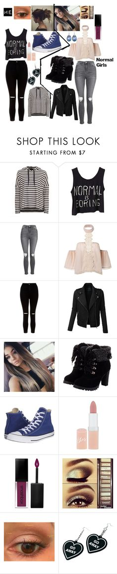 """Me vs normal girls XD comment if u can relate"" by starbucksgirl3421 ❤ liked on Polyvore featuring Topshop, New Look, LE3NO, Converse, Rimmel, Smashbox, Urban Decay and Witch Worldwide"