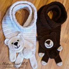 Who doesn't like to have a little fun? These bear scarves are designed for the young at heart! - Double thick for extra warmth - Safety eyes in the color of your choice - Available in any color bear -