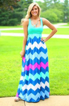 Mint To Party Chevron Maxi...I have this in a different color & strapless & it is SO comfortable to wear, that I wear mine around the house!!!!!