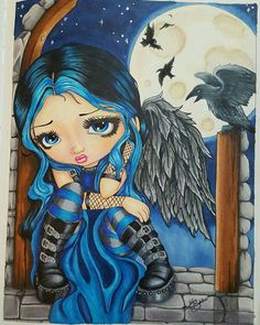 """This is my version of """"The Whispered word Lenore"""". I am close to the original with a few Color changes. Book: Jasmine Becket-Griffith's Coloring book a fantasy art adventure Media: copic markers and prismacolor pencils with white gel pen Amy Brown, Adult Coloring, Coloring Books, Emo Disney, Baby Doll Eyes, Cartoon Clip, Mushroom Art, Gothic Fairy, Goth Art"""