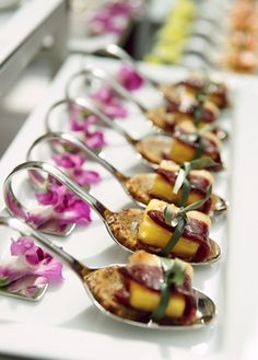 Signature Spoons of Grilled Pineapple Rappedprosciutto - Chef Oren Shukrun. Perfect for wedding cocktail hour