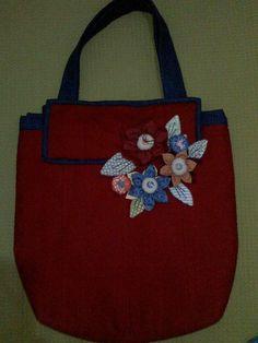 PATCHWORK - bolsa azul e vermelha para Elaine