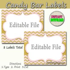 Candy Buffet Labels  Chevron Pink and Gold Glitter Print by #M2MPartyDesigns  https://www.etsy.com/shop/M2MPartyDesigns