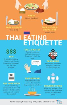 Check out this Thai common table manner foreigners may need to know Like and share this to let our fellow travelers learn these little tips of the culture difference wink emoticon Enjoy and Happy Weekends! Read more about Thai eating etiquette click http://blog.takemetour.com/thai-eating-etiquette/  ‪#‎takemetour‬ ‪#‎traveltips‬ ‪#‎tips‬ ‪#‎infographic‬ ‪#‎culturedifference‬ ‪#‎thailand‬ ‪#‎thai‬ ‪#‎traveler‬ ‪#‎experienceseeker‬ #infographic ‪#‎localexpert‬