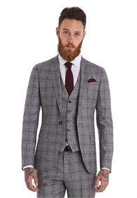 Moss London Slim Fit Red Check 3 Piece Suit