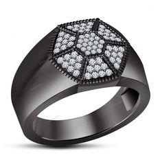 Attractive Men's Wedding Ring 14k Black Gold Finish 925 Silver Round Multi-Stone #Biejojewels #MensRing