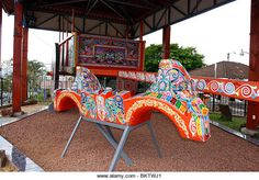 Largest brightly painted Oxcart in the World to be found at Sarchi,Costa Rica,Mexico. - Stock Image