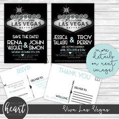 Las Vegas Wedding Invitations 5 X 7 By Blessherheartinvites