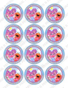 Abby Cadabby Elmo Personalized Stickers Cupcake Toppers Seals | PartiesRPersonal - Children's on ArtFire