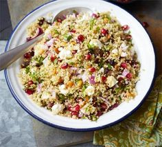 A Middle Eastern-style mezze bowl with healthy grains, parsley, mint and coriander, from BBC Good Food.