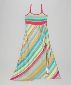 This Me & Ko Heather Gray & Tropical Stripe Maxi Dress - Girls by Me & Ko is perfect! #zulilyfinds