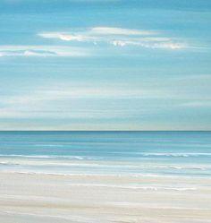 Blue Coastal Sea art print, seascape painting print,caribbean art by Francine Bradette-FREE S