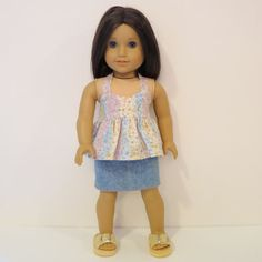 American Girl Doll Clothes  Ruffled Halter Top by AmericAnnMade, $13.00