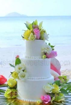 #Pink beach 3 tier wedding cake... Wedding ideas for brides, grooms, parents & planners ... https://itunes.apple.com/us/app/the-gold-wedding-planner/id498112599?ls=1=8 … plus how to organise an entire wedding ♥ The Gold Wedding Planner iPhone App ♥