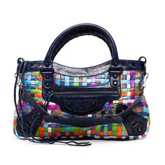 The Balenciaga Limited Edition Multicolour Woven First Bag A Vibrant And Special Piece In Bright Inter Strips Of Leather With Bold Blue Trim