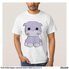 Cute baby hippo cartoon man's shirt
