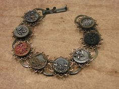 Button Jewelry - Upcycled Antique Picture Button Bracelet. $105.00, via Etsy.