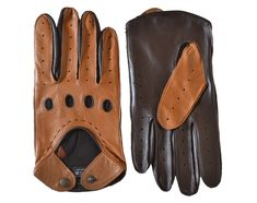 6557a6fbb711f Shop leather driving gloves for men by Pittards. Supple nappa leather with  perforated fingers and knuckles and popper fastening.