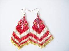 Beaded mothers day earrings beadwork earrings by joymakersdesigns