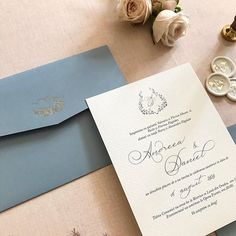 Dusty blue – Un design din inima Simple Wedding Invitations, Elegant Invitations, Wedding Stationary, Custom Invitations, Pocket Invitation, Invitation Envelopes, Black Envelopes, Dusty Blue Weddings, Nasa