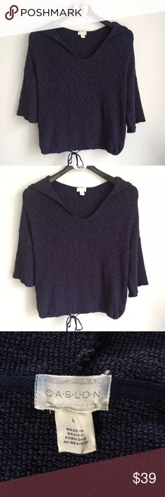 """Caslon Hooded Waffle Knit Sweater Top Women's Caslon Hooded Sweater Top  Blue waffle knit Pre-owned in great condition with no flaws Size L Measures 22"""" across chest arm pit to arm pit laying flat Length is 23"""" long Caslon Sweaters"""