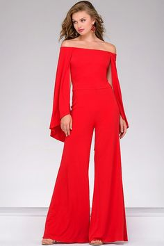 Jovani Prom 39598 Red Off the Shoulder Jersey Jumpsuit 39598 Prom Dresses Jovani, Pageant Dresses, Prom Jumpsuit, Look Boho Chic, Overall, Formal Gowns, Look Fashion, Evening Dresses, Designer Gowns