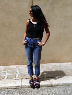 Kavita Cola in Topshop Jeans, Brandy Melville Tank, Marni Sandals, Nana Fink Pendant and Celine Sunglasses