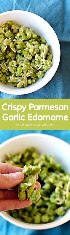 Crispy Parmesan Garlic Edamame! Baked in the oven, this parmesan garlic edamame is a tasty snack with only 123 calories! | HomemadeHooplah.com