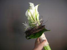 bruidsboeket - wit verticaal tylansia, calla falenopsis boechout