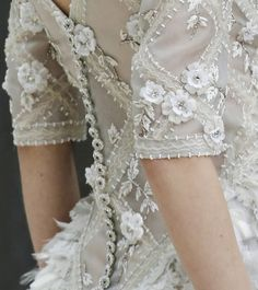 chanel haute couture spring/summer 2013 - ribbon beaded trimmings and flower petal embellishment